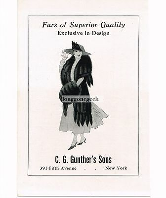 1917 G. C. Gunther's Sons Furs Furriers Women's Fashion Vtg Print Ad