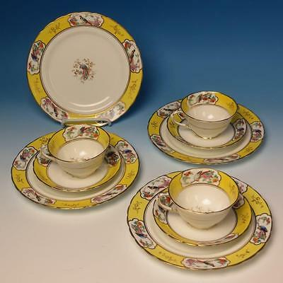 Tuscan China - Yellow Decorated with Birds 8629 - 4 Plates, 3 Cups, 3 Saucers