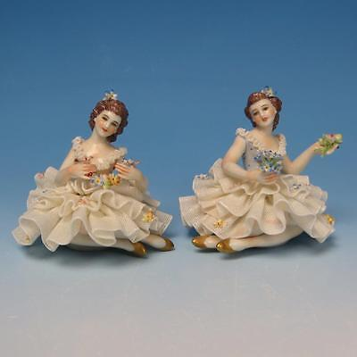 Italy - Porcelain Lace Figures - Pair of Woman Figurines with Flowers