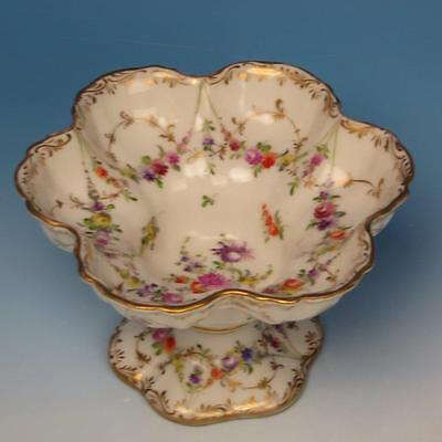 Dresden Porcelain - 6 Sided Scalloped Footed Compote - Floral and Gold Decorated