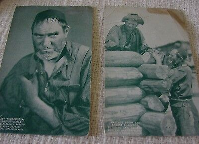 2 Antique Western Actor Paramount Movie Postcards Ernest Torrence Wallace Beery