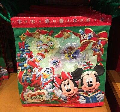 TDL Japan Tokyo Disneyland Christmas 2016 Cloth Draw Bag Mickey Minnie Donald