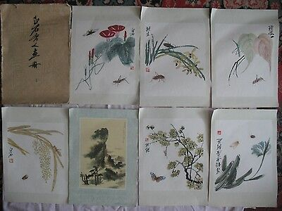 Chinese painting 齊白石 Rare POST CARD Set 9 reproductions Qi Baishi Big China vtg