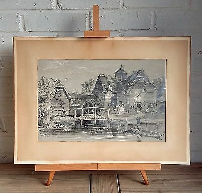 Large Antique Original 19Th Century Signed Water Mill Pencil Drawing J Kirk 1875