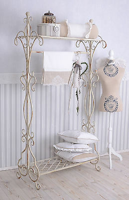 Valet Stand Wardrobe Shabby Chic Coat Stand White Metal Stand