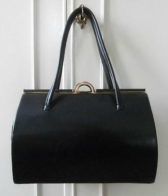 Vintage Late 1960's Black Leather Kelly Style Hand Bag by Eros
