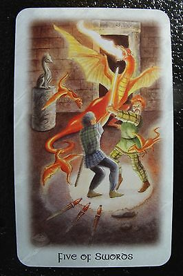 Five of Swords The Celtic Dragon Tarot Single Replacement Card Excellent