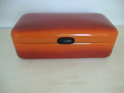 Antique Near Mint Red/orange Enamel Big Size Dutch Bread Box Scarce Condition