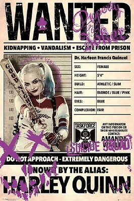 HARLEY QUINN WANTED POSTER Margot Robbie Suicide Squad Poster 24x36