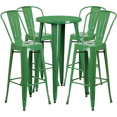 24'' Round Green Metal Indoor-Outdoor Bar Table Set With 4 Barstools