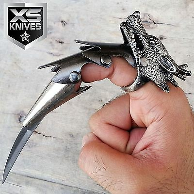 """6"""" WOLF HEAD CLAW Blade Finger Ring IRON REAVER ARMOR Fantasy Knife COMBAT"""