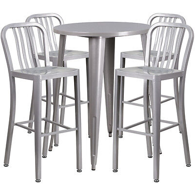 30'' Round Silver Metal Indoor-Outdoor Bar Table Set With 4 Barstools