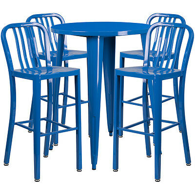 30'' Round Blue Metal Indoor-Outdoor Bar Table Set With 4 Barstools