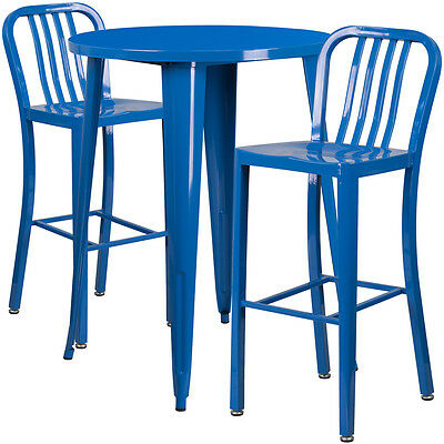 30'' Round Blue Metal Indoor-Outdoor Bar Table Set With 2 Barstools