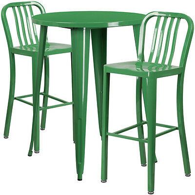 30'' Round Green Metal Indoor-Outdoor Bar Table Set With 2 Barstools