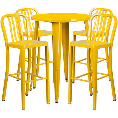 30'' Round Yellow Metal Indoor-Outdoor Bar Table Set With 4 Barstools