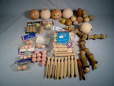 Vtg Lot Wooden Doll Heads ~Some Painted Faces ~Clothespins for Doll/Angel Making
