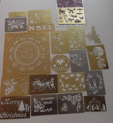 Lot  20 BRASS STENCILS HTF  Large  Plate  Circle Border Designs Christmas