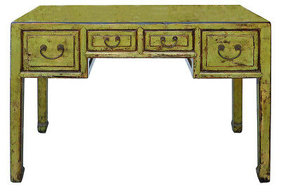 Chinese Distressed Lime Green Yellow 4 Drawers Table Desk cs1996