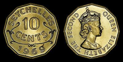 Seychelles 10 Cents 1969 (Proof) *only 5,000 Minted*