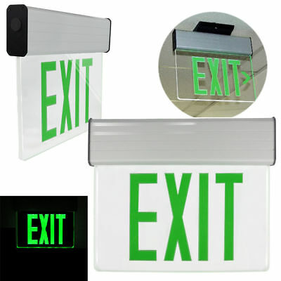 Green LED Emergency Exit Light Sign Edge Lit Battery Backup UL924 Fire Code US