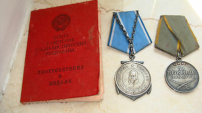 Wwii Russian Soviet Ushakov & Combat Service Medals Set With Document