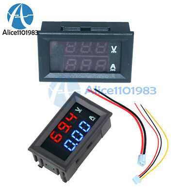 DC 100V 10A Voltmeter Ammeter Blue + Red LED Digital Volt Meter Gauge UK
