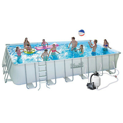 Swimming Pool Solice 30700L Above Ground Rectangle Metal frame 396x670x132cm