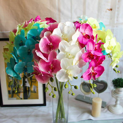 Butterfly Orchid Silk Flower Bouquet Phalaenopsis Wedding Home Decor Charm