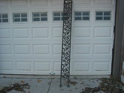 Qty 4 Vintage Wrought Iron Burr Oak Leaf Acorn Porch posts column flat panels