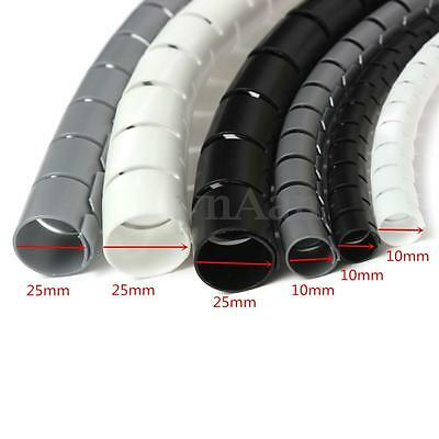 2m 10mm/25mm Spiral Cable Wrap Tidy Cord Wire Banding Loom Storage Organizer