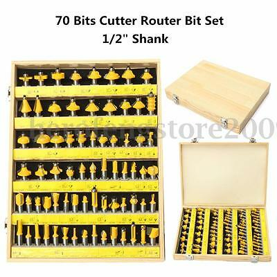 70 Bits Cutter Router Bit Set C3 Carbide 1/2'' Shank Woodwork Tool With Wood Box
