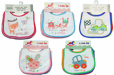 New 7 Pack Days of the Week feeding bibs - Baby Boy Girl 0-6 months peva backed