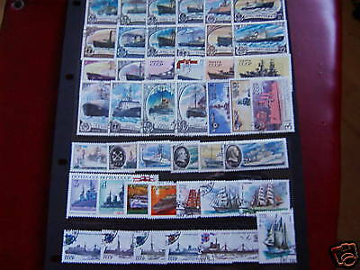40 Different Ships Stamps From Russia,nice Lot.