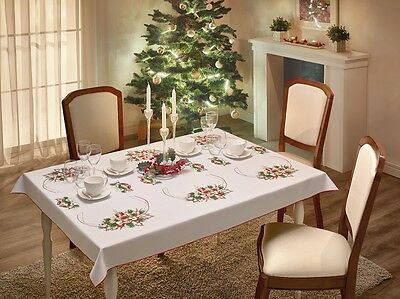 Large White Christmas Tablecloth Home Table Decorations 110 x 150cm, 145 x 220cm