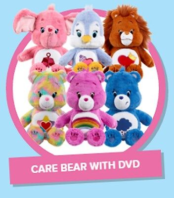 "Vivid Care Bears Lots a heart 14"" Plush with DVD~New~"