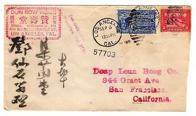 E9 1915 USA Special Delivery Cover ~Chinese Drug Merchant LA to San Fran.