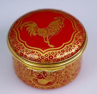 HALCYON DAYS Enamels Year of the Rooster Red Gold TRINKET BOX - Rare Find!