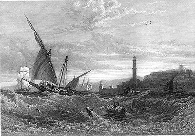Italy, Ships Storm Gulf of GENOA ~ Antique Old 1833 Art Print Engraving RARE!