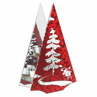 Merry & Bright Red Double Tea Light Candle Holder Christmas Tree & Moose
