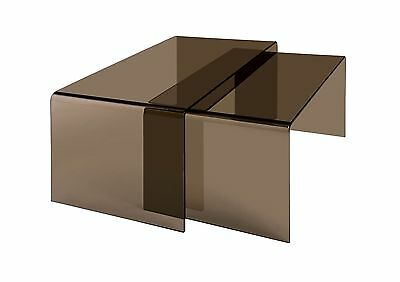 Premier Housewares Nested Coffee Tables with Smoked Brown Bent Glass - 42 x 8...