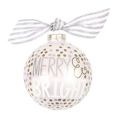 Coton Colors Gold and Silver Gift Bauble 10cm 'Merry & Bright' in Gift Box