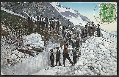 Switzerland Urii 1908 May snow clearing Andermatt  picture postcard