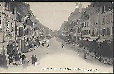 Switzerland Fribourg 1909 Murten main street picture postcard