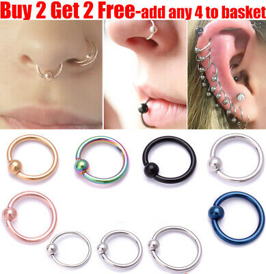 Surgical Steel Hoop Ring Ball Closure Lip Ear Nose Eyebrow Universal Piercing