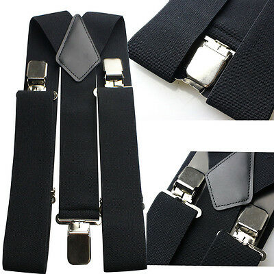 Gentlemens Braces Plain Black Heavy Duty  Suspenders Adjustable Elastic 50mm