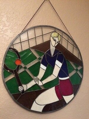 "Large 19"" Round Stained Glass Window Sun Catcher Tennis Fan Unique Gift Look!"
