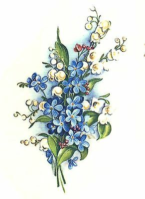 "8 Blue White Forget Me Not Flowers 2-1/8"" Waterslide Ceramic Decals Xx"