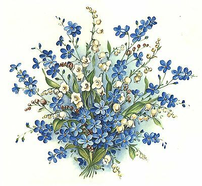 Forget Me Not Bouquet Select-A-Size Waterslide Ceramic Decals Tx