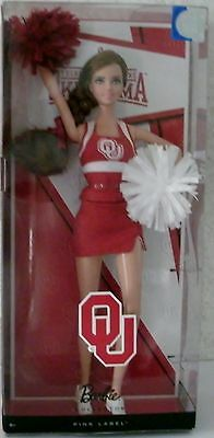 BARBIE COLLECTOR UNIVERSITY OF OKLAHOMA Cheerleader Doll Pink Label